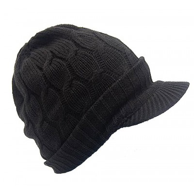 Cap - Cable Knit Visor Beanie Hats - Black Color - HT-9874BK