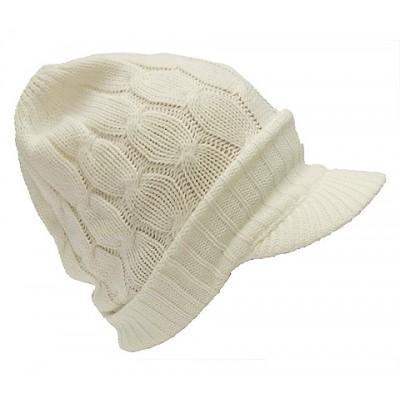 Cap - Cable Knit Visor Beanie Hats - White Color -HT-9874WT