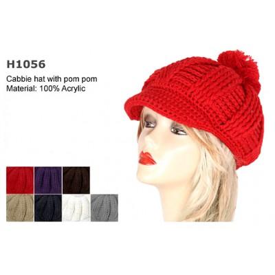 Cap - Knitted Beane W/ Pom Pom - HT-H1056