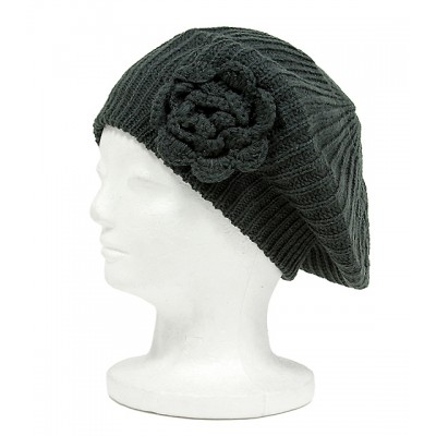 Cap - Knitted Beret w/ Floral Design - Dark Gray - HT-H1275F-DGY