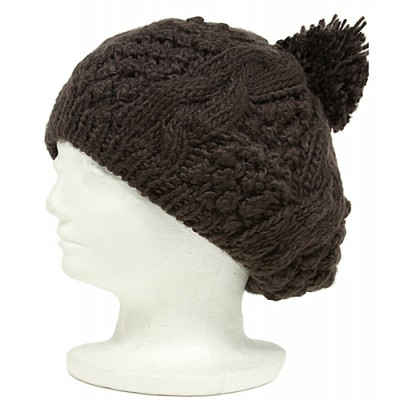 Cap - Knitted Beret w/ Pom Pom - Brown - HT-H1282BR