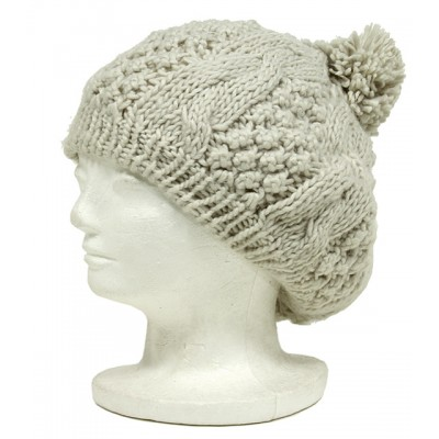 Cap - Knitted Beret w/ Pom Pom - Off White - HT-H1282OWT