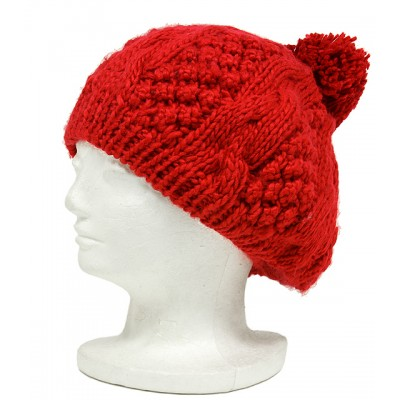 Cap - Knitted Beret w/ Pom Pom - Red -  HT-H1282RD