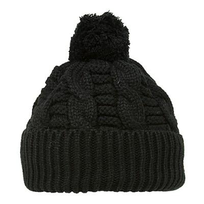 Cap - Knitted Beanie w/ Pom Pom - Black - HT-H1285BK