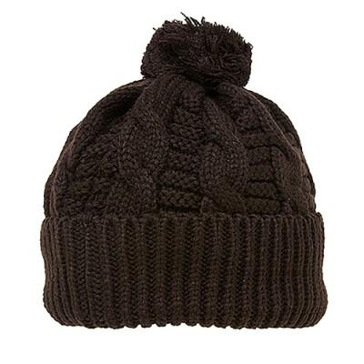 Cap - Knitted Beanie w/ Pom Pom - Brown - HT-H1285BR