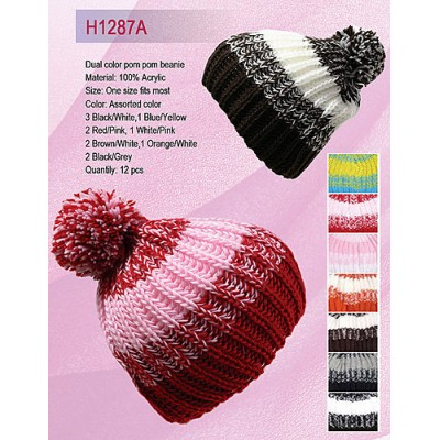 Cap - Mulit Color Knitted Beane W/ Pom Pom - HT-H1287A