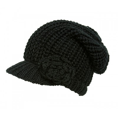 Cap - Knitted Beanie Visor w/ Floppy Crown - Black - HT-H1295BK