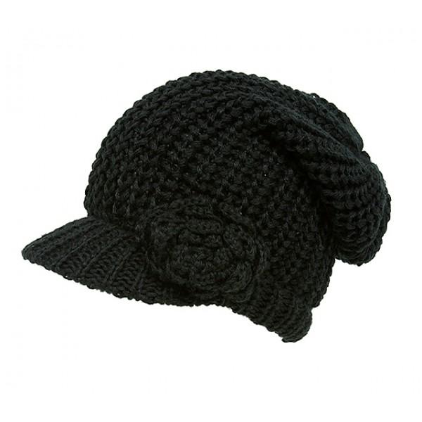 Cap - Knitted Beanie Visor w/ Floppy Crown - Black - HT-H1295BK