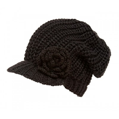 Cap - Knitted Beanie Visor w/ Floppy Crown - Brown - HT-H1295BR