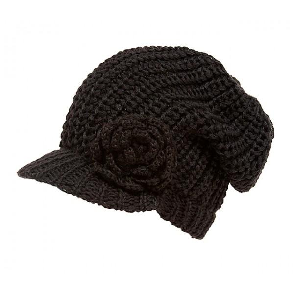 Cap - Knitted Beanie Visor w/ Floppy Crown - Brown - HT-H1295BR