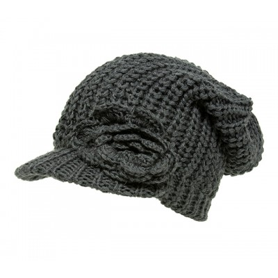 Cap - Knitted Beanie Visor w/ Floppy Crown - Dark Gray - HT-H1295DGY