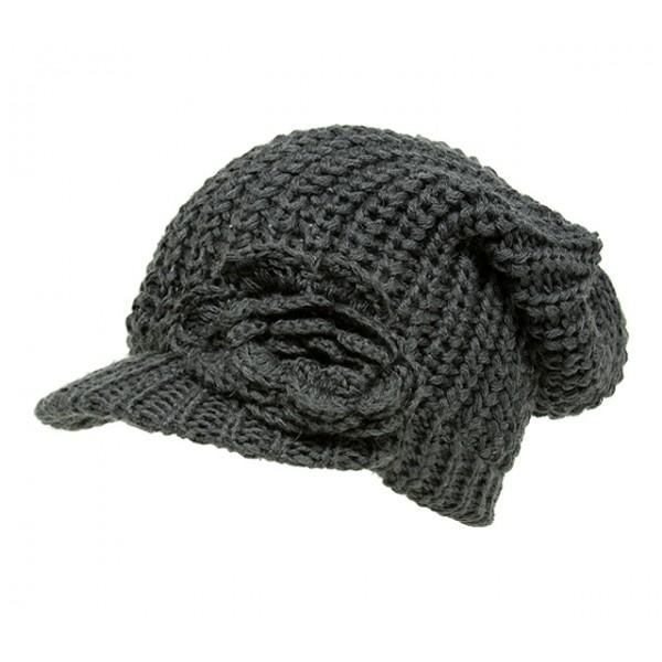 Cap - Knitted Beanie Visor w/ Floppy Crown - Dark Gray - HT-H1295DGY