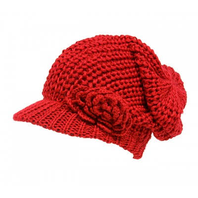 Cap - Knitted Beanie Visor w/ Floppy Crown - Red - HT-H1295RD