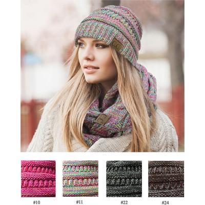 Beanie Caps - Four-Tone Multi Ribbed Knit Beanie - HT-YJ-816