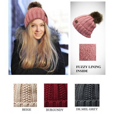 Beanie Caps - Fuzzy Lined Beanie w/ Faux Fur Pom - HT-YJ-820