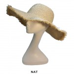 Wide Brim Straw Hat with Braided Straw Trim - Natural - HT-6044NAT