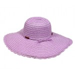 Straw Big Rim Hat w/ Beads - Purple -HT-M234PL