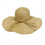 Straw Big Rim Hat - w/ Multi-String Bow - Natural - HT-SHA50203NT