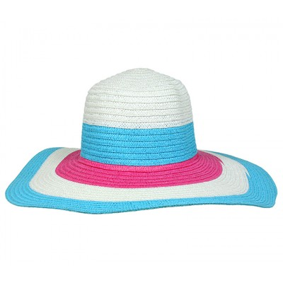 Wide Brim Straw Hat w/ Color Stripes - Blue