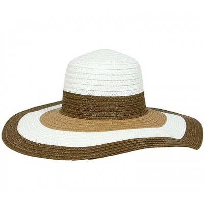 Wide Brim Straw Hat w/ Color Stripes - Brown