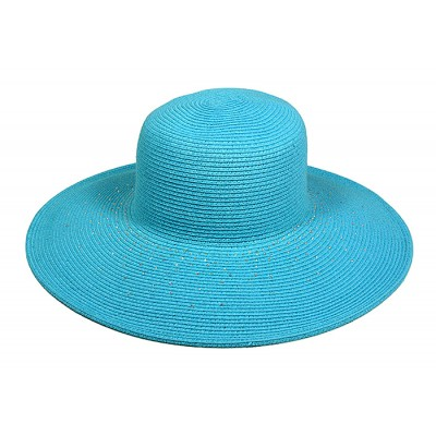 Straw Big Rim Hats - Paper Straw Braided w/ Rhinestones - Blue - HT-ST252BL