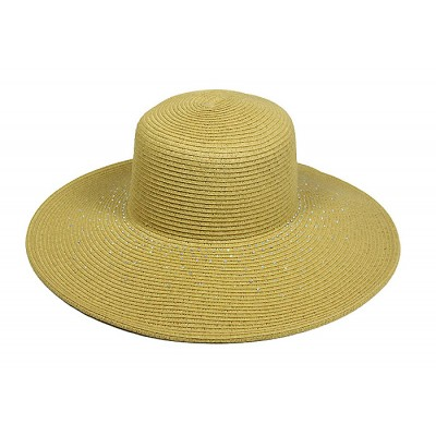 Straw Big Rim Hats - Paper Straw Braided w/ Rhinestones - Natural - HT-ST252NT