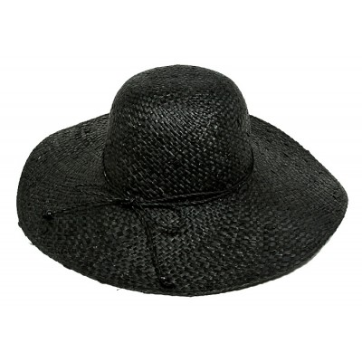 Straw Big Rim Hats - Raffia Straw Woven w/ Beads String Rounded - Black - HT-ST273BK