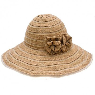 Straw Big Rim Sun Hat - Linen w/ Attached Flower - Natural - HT-ST3279NT