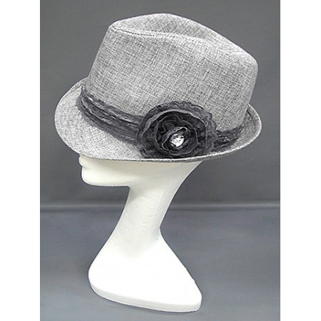 Fedora Straw Hat w/ Lace Trim Corsage - Silver - HT-1184SI