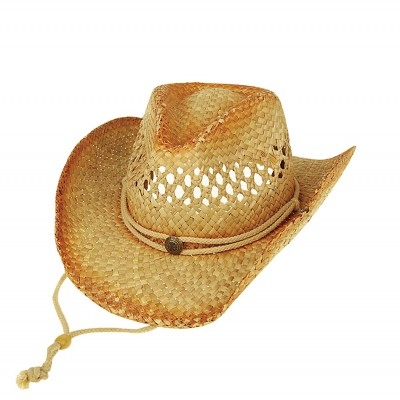 Straw Cowboy Hats: Straw w/ Outback Tea Stained - Natural - HT-8174NT