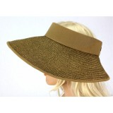 The Lady's Packable Straw Sun Visor - Adjustable - 3.5 Inches - Brown - HT-ST159BN