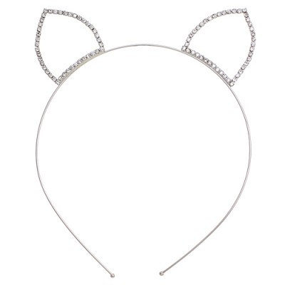 Headband: Clear Beaded Kitty Ears Rhinestones Headband - HB-71165HCR-S