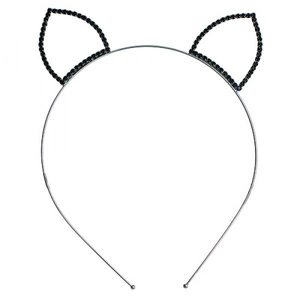 Headband: Black Beaded Kitty Ears Rhinestones Headband - HB-71165HJT-BN