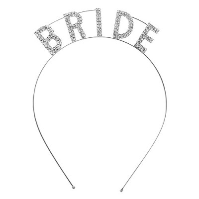 "Headband: ""Bride"" Tiara Rhinestones Headband - HB-71525CR-S"