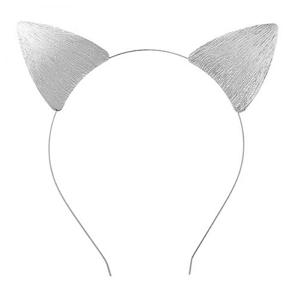 Headband: Textured Brushed Kitty Ears Metal Headband - HB-71598-S