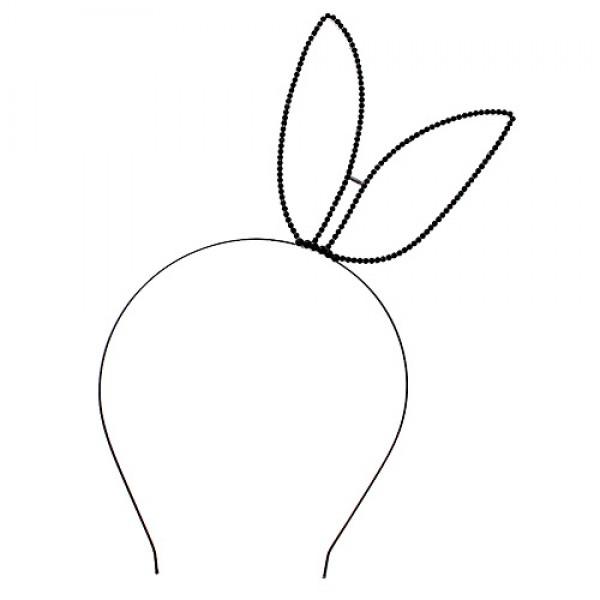 Headband: Black Beaded Sexy Bunny Ears Rhinestones Headband - HB-71601JT-BN