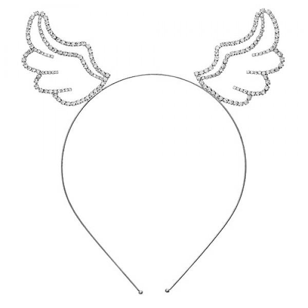Headband: Angel Wings Rhinestones Headband - HB-71612CR-S