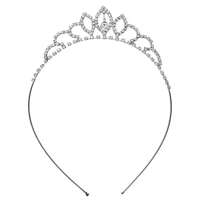 Headband: Rhinestones Tiara Headband - HB-71620CR-S