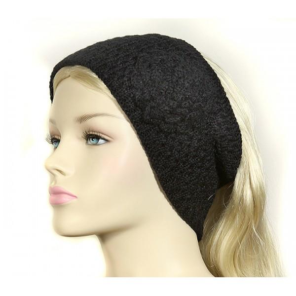 Headwraps / Neck Warmer : Crochet w/ Flower - Black Color - HB-0118HHBK