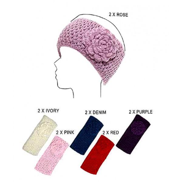 Headwraps / Neck Warmer : Crochet w/ Flower - Black Color - HB-0118HH