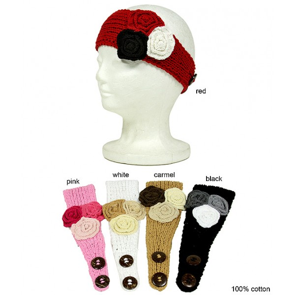 Knitted Headwraps Cotton w/3 Flower- HB-ANGEL-43