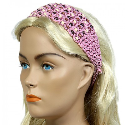 Headband - 12 pcs Wooden Beaded Crochet Headband - Pink - HB-HDB1011.03
