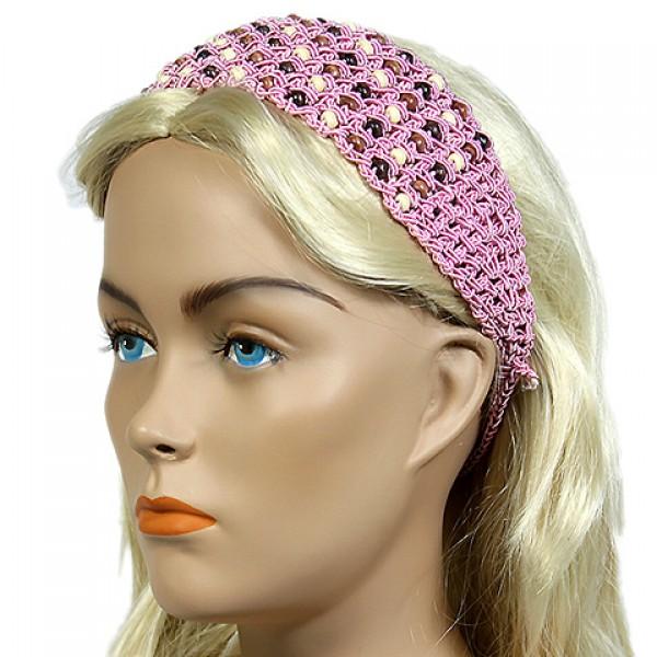Headband - 12 pcs Wooden Beaded Crochet Headband - Pink - HB-HDB1011.03
