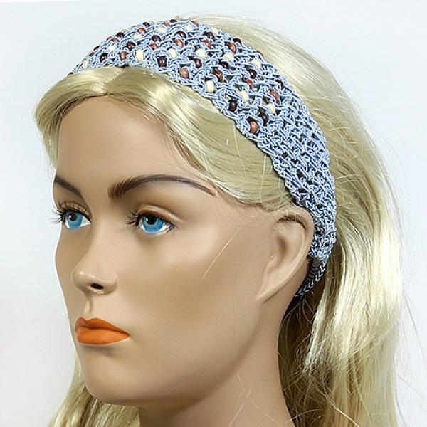 Headband - 12 pcs Wooden Beaded Crochet Headband - Blue - HB-HDB1011.04