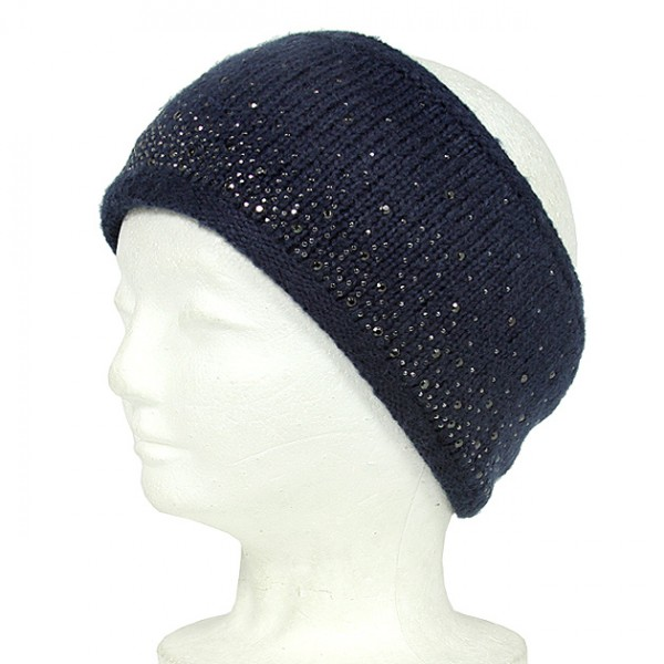 Knitted Headband w/ Rhinestones - Navy Color - HB-YJ69NV
