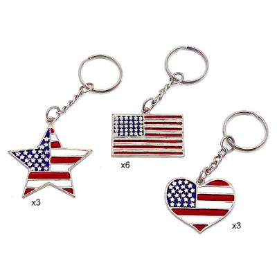 USA Flag Print Key Chain - KC-K001