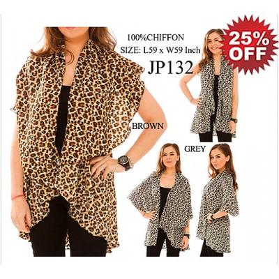 Shawl Cardigan w/ Draped Collar - Leopard Print - ASH-JP132