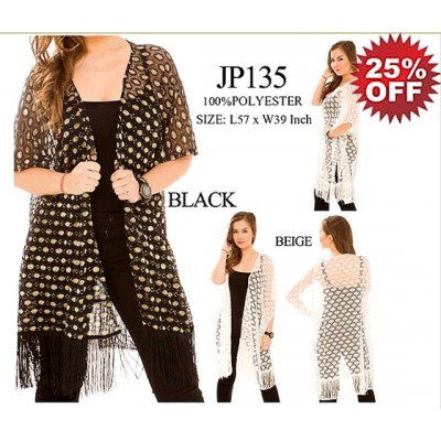 Shawl Cardigan w/ Tassels - Perforated - Black - ASH-JP135