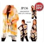 Shawl Cardigan w/ Tassels - Big Flowers - ASH-JP136