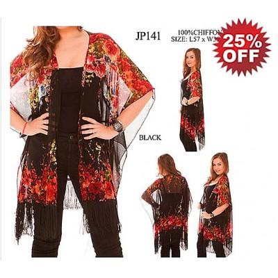 Shawl Cardigan w/ Tassels - Flowers  - Black - ASH-JP141